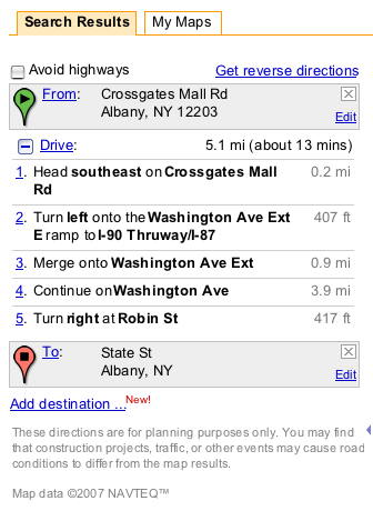 [Image] Screenshot of Google Maps directions