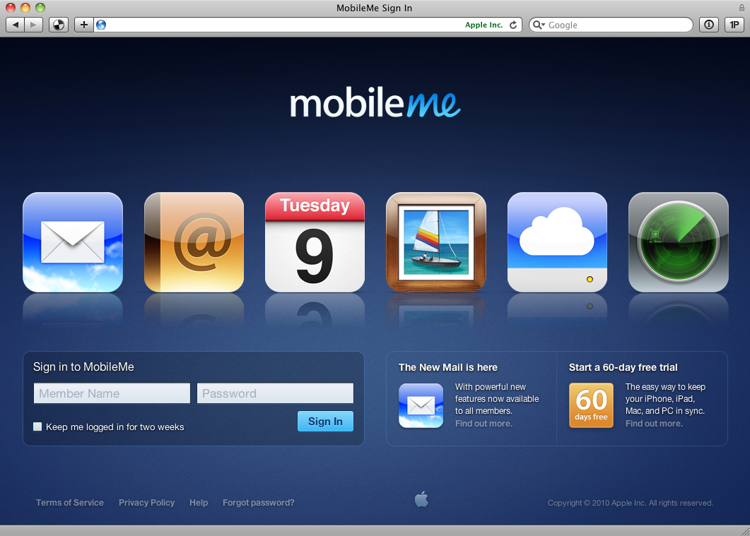 Screenshot of the MobileMe login screen with JavaScript enabled