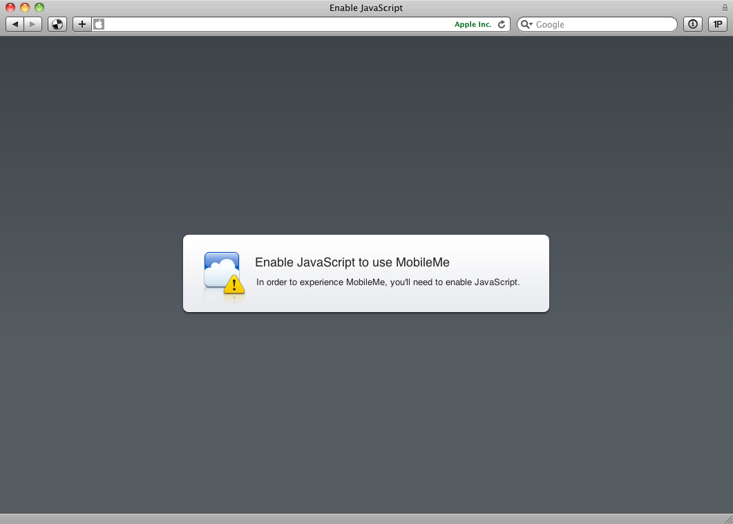 Screenshot of the MobileMe login screen with JavaScript disabled