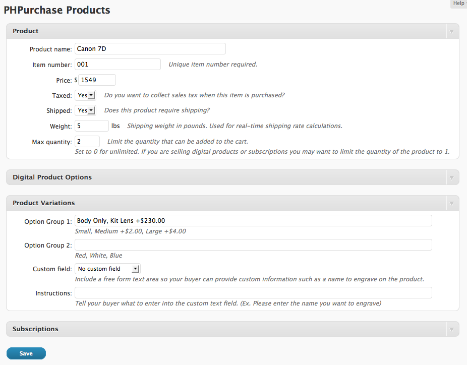 Screenshot: Adding a product to PHPurchase