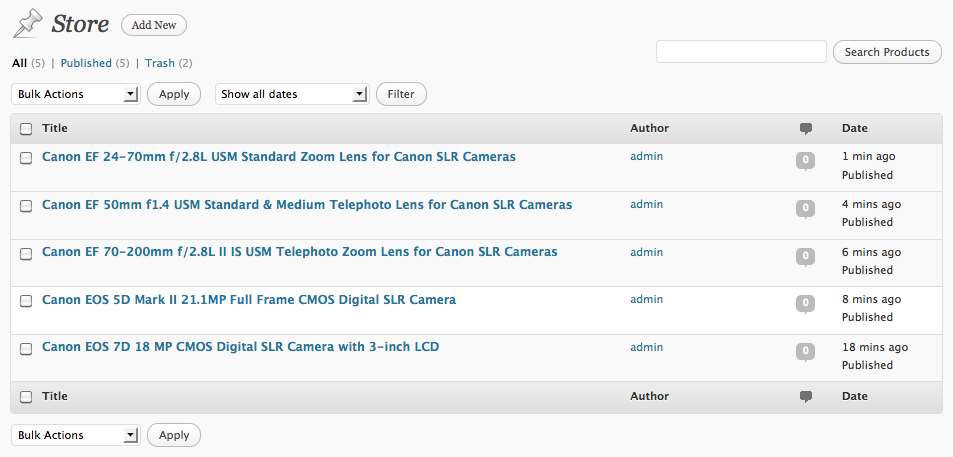 Screenshot: Products added to the Custom Post Type