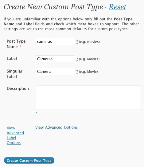 Initial setup of the Custom Post Type
