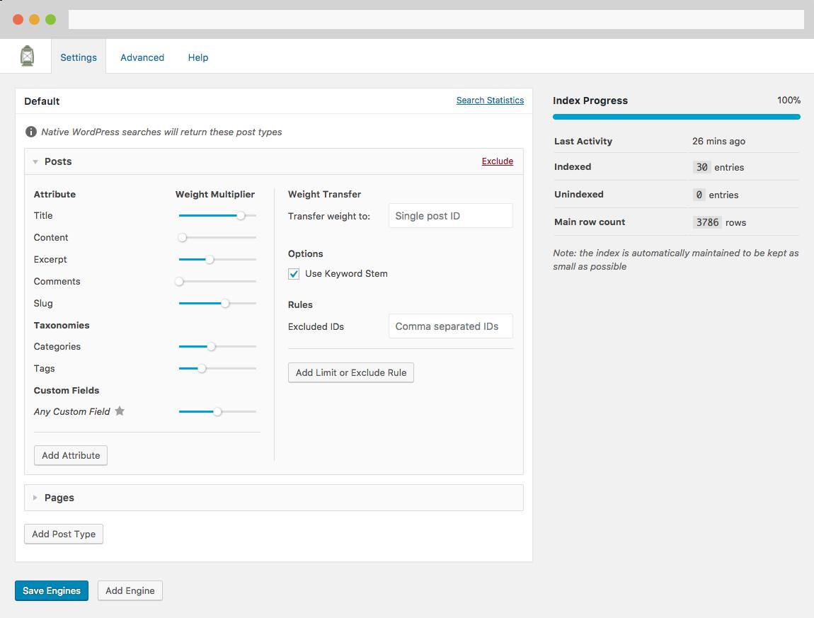 Screenshot of SearchWP's settings screen