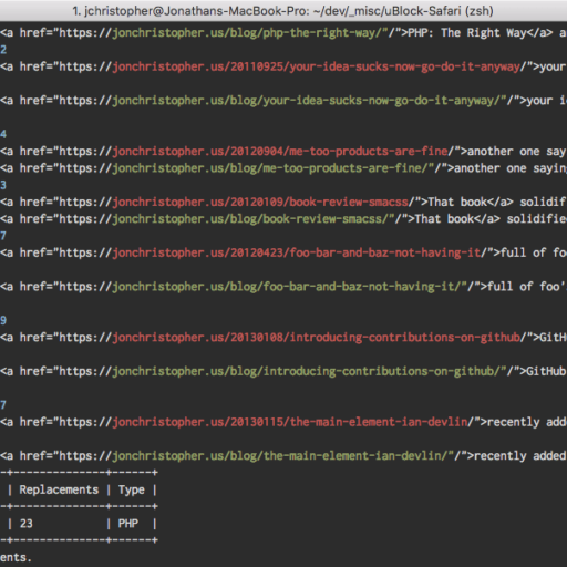 Screenshot of a terminal showing WP-CLI's --log option for search-replace
