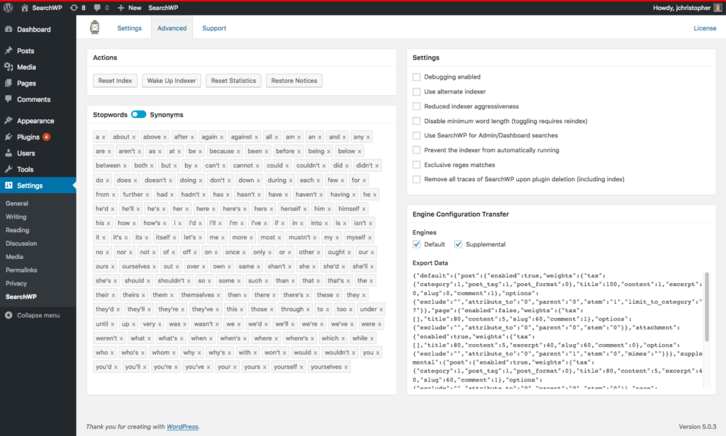 Screenshot of toggle UI