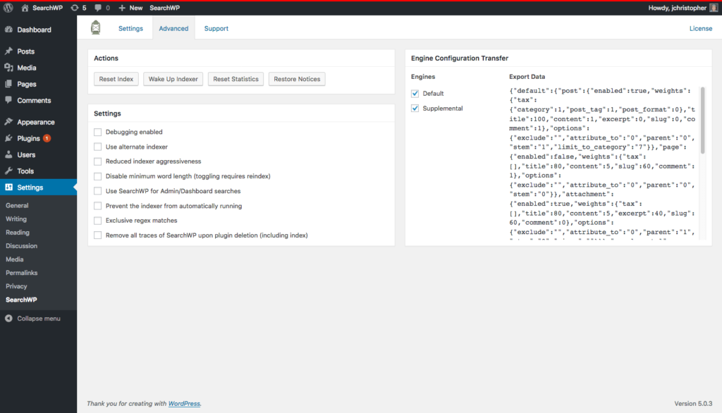 Screenshot of the admin screen in progress